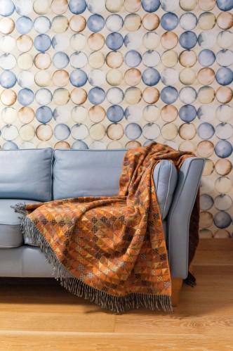 Orange with Squares Wool Blanket - Throw