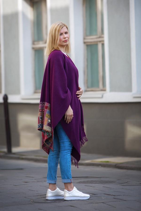 Purple Wool Poncho With Pattern
