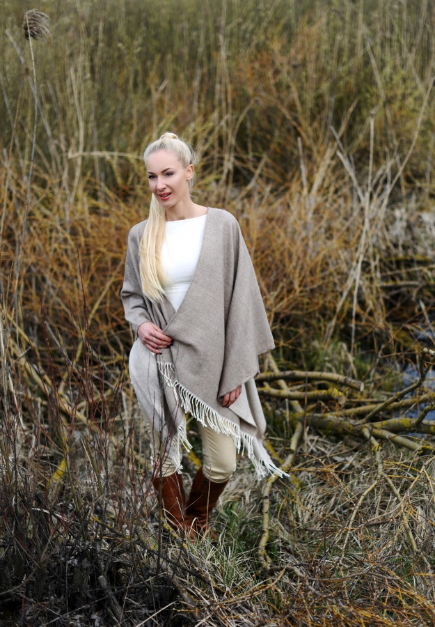 Alpaca wool and cotton Poncho