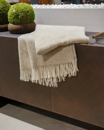 Beige Merino Wool Blanket Throw