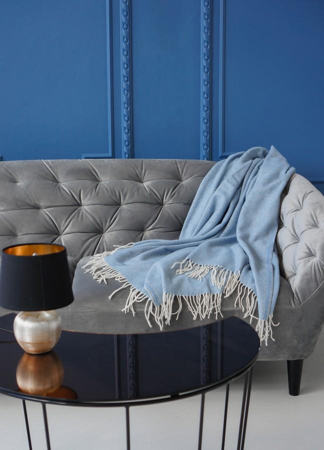 Blue Herringbone Merino Wool Blanket