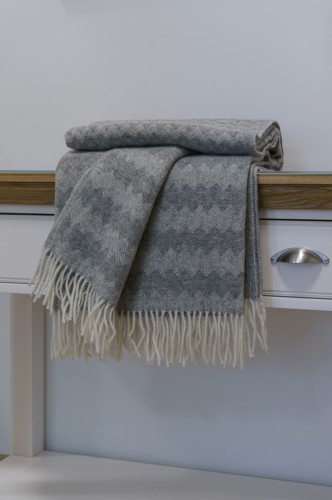 Bright Gray Wool Blanket - Throw