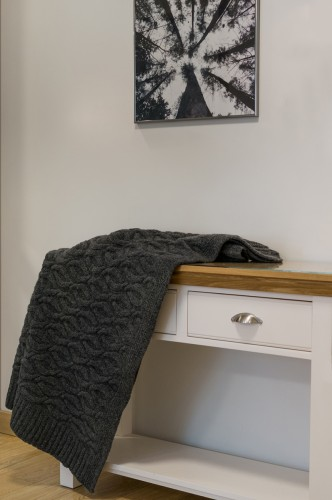 Dark Gray Knitted Blanket - Throw