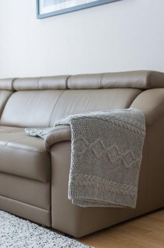 Grey Knitted Merino Wool Blanket - Throw