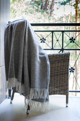 Grey Wool Blanket - Throw With Stripes