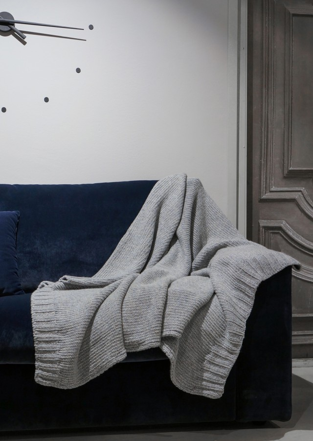 Gray with Blue Tint Merino Wool Blanket Throw