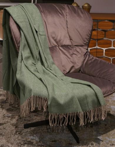 Green Herringbone Merino Wool Blanket Throw